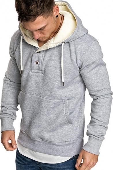 Trendy Men's Hoodie Heathered Front Pocket Button Detail Long Sleeves Regular Fitted Drawstring Hooded Sweatshirt