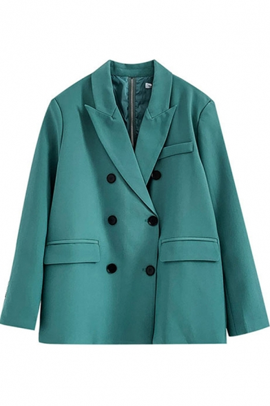 Trendy Women's Suit Jacket Solid Color Double-Breasted Flap Pocket Notched Lapel Collar Long Sleeves Relaxed Fit Suit Jacket