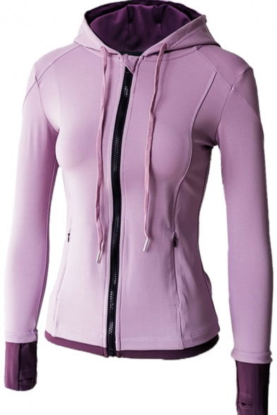 Trendy Women's Yoga Jacket Contrast Panel Color Block Zip Fly Side Pockets Finger Hole Long-sleeved Fitted Drawstring Training Hooded Sweatshirt