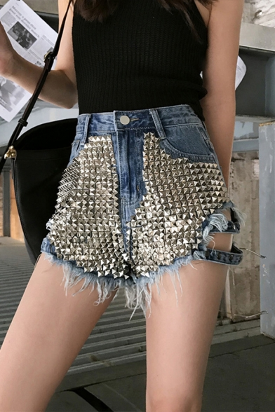 Designer Womens Shorts Rivet Decoration High Rise Cut Out Raw Edge Relaxed Denim Shorts