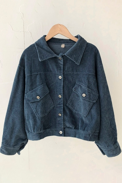 Elegant Women's Jacket Solid Color Corduroy Flap Pocket Button Closure Turn-down Collar Long Sleeves Regular Fitted Jacket