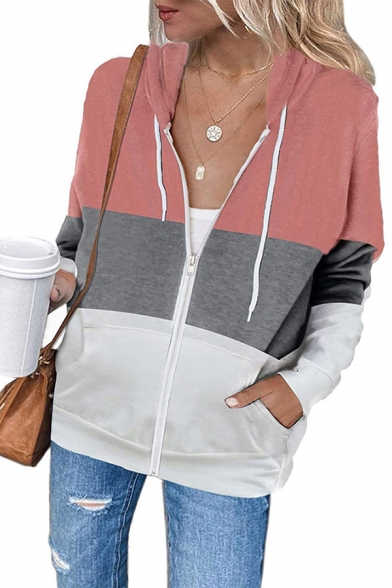 Fancy Women's Casual Jacket Color Block Contrast Panel Zip Closure Front Pockets Long Sleeves Regular Fitted Drawstring Hooded Sweatshirt
