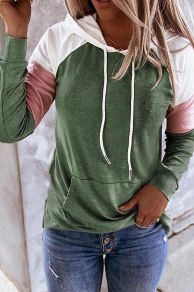 Fancy Women's Hoodie Contrast Color Front Kangaroo Pocket Long-sleeved Regular Fitted Drawstring Hooded Sweatshirt