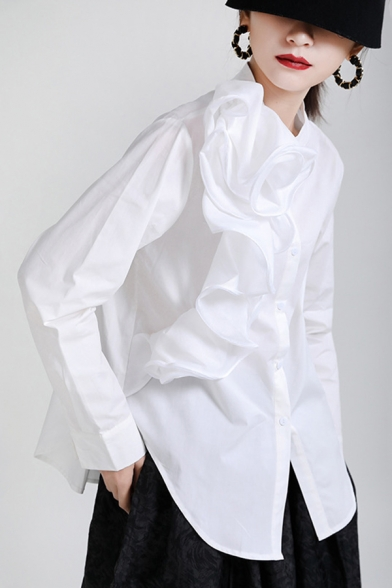 Fancy Women's Shirt Solid Color Ruffle Detail Button Fly Side Split Mock Neck Long-sleeved Relaxed Fit Shirt Blouse