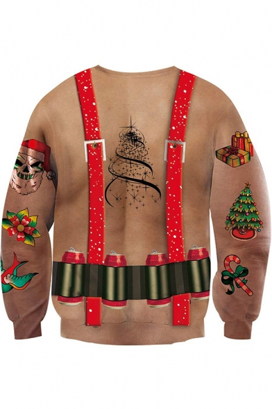 Fashion Mens Sweatshirt Straps Chest Tree Gift 3D Pattern Long Sleeve Crew Neck Relaxed Pullover Sweatshirt in Brown