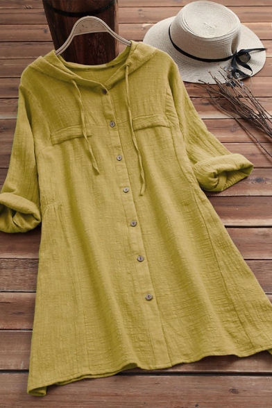 Fashionable Women's Shirt Blouse Solid Color Chest Pocket Button Fly Cotton and Linen Long Sleeves Drawstring Hooded Shirt