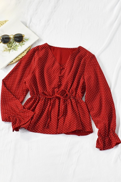 Leisure Blouse Polka Dot Print Long Sleeve V-neck Button Up Tied Waist Fit Blouse Top for Girls