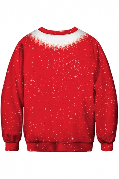 Red Spoof Sweatshirt Body Outfit 3D Printed Long Sleeve Crew Neck Relaxed Fit Pullover Sweatshirt for Men