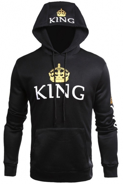 Unisex KING Letter Crown Printed Long Sleeves Pullover Hoodie with Pocket