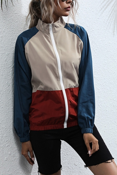 Womens Street Color Block Long Sleeve Stand Collar Zipper Front Loose Jacket in Blue