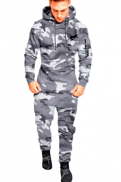 Casual Men's Set Camo Space Dye Pattern Zip Pockets Contrast Trim Long Sleeves Regular Fitted Drawstring Hooded Sweatshirt with Long Pants