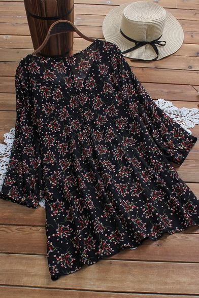 Fancy Women's Blouse Ditsy Floral Pattern Pleated Round Neck Long Sleeves Tunic Pullover Shirt Blouse