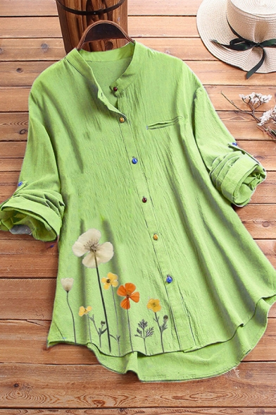 Fancy Women's Shirt Blouse Floral Print Color Button Fly Chest Pocket Cotton and Linen Round Neck Long Sleeves Asymmetrical Hem Relaxed Fit Shirt Blouse