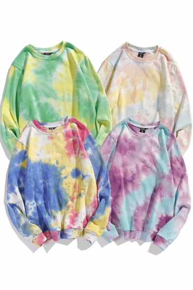Fashionable Men's Sweatshirt Tie Dye Pattern Crew Neck Long-sleeved Banded Cuffs Relaxed Fit Pullover Sweatshirt