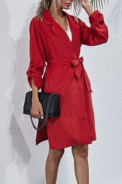 Formal Ladies Plain Roll-up Sleeve Notched Collar Bow-tied Waist Slit Sides Mid A-line Blazer Dress