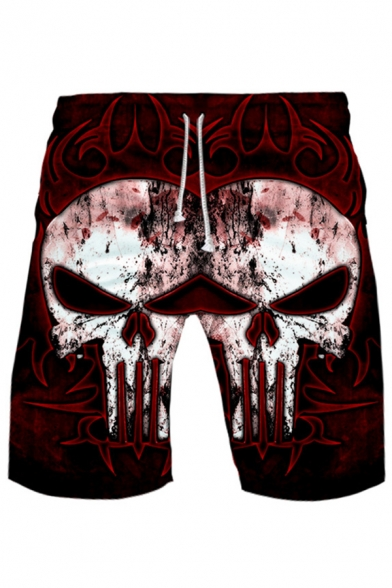 Men's Cool Fashion Creative 3D Skull Printed Drawstring Waist Loose Fit Red Casual Active Shorts