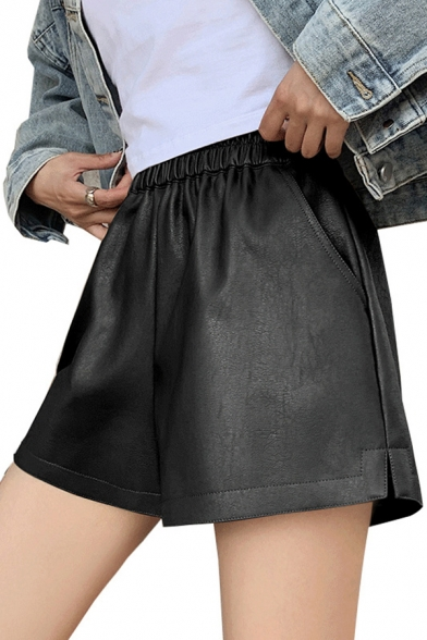 Street Girls Shorts Leather Solid Color Elastic Waist Wide-leg Shorts
