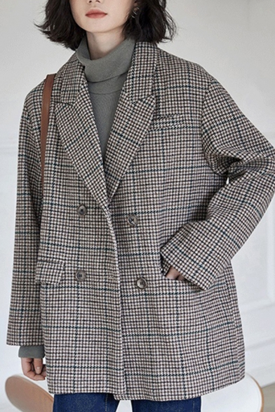 Vintage Women's Suit Jacket Houndstooth Pattern Double Breasted Notched Lapel Collar Long Sleeves Regular Fitted Suit Jacket
