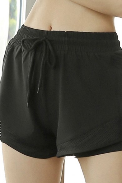 Womens Yoga Shorts Quick Dry Elastic Waist Patched Relaxed Plain Shorts