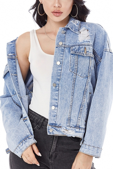 Blue Trendy Jacket Ripped Long Sleeve Spread Collar Relaxed Fitted Denim Jacket for Women
