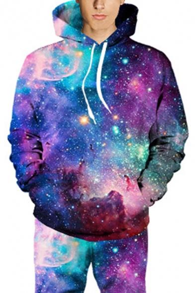 Elegant Men's Hoodie Space Galaxy 3D Print Kangaroo Pocket Ribbed Trim Drawstring Hooded Sweatshirt