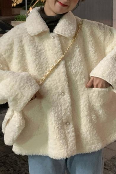 Fancy Women's Woolen Coat Solid Color Front Pocket Button Closure Peter Pan Collar Long Sleeves Relaxed Fit Woolen Coat