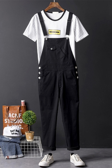 Mens Simple Solid Color Rolled Cuff Hip Hop Style Black Bib Overalls