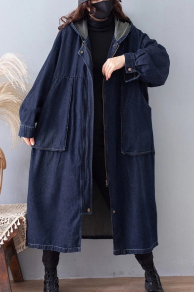 Retro Womens Coat Leopard Skin Panel Large Pockets Front Side Split Zipper up Longer Length Hooded Loose Fit Long Sleeve Trench Coat