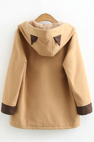 Stylish Women's Jacket Side Pocket Contrast Plai Horn Button Closure Long Sleeved Relaxed Fit Jacket