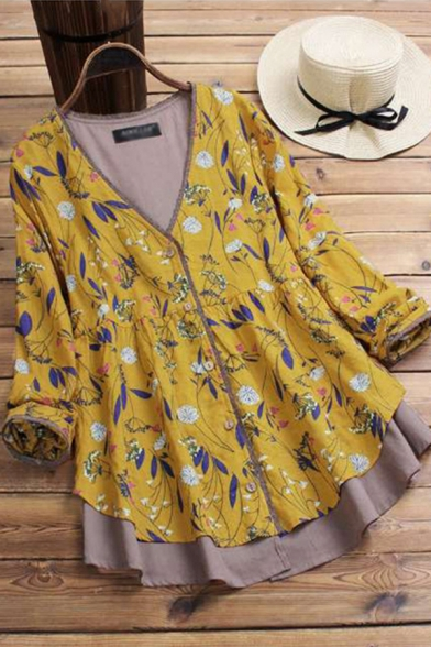 Casual Women's Shirt Floral Pattern Button Fly Patchwork Contrast Panel Long Sleeves Relaxed Fit Shirt Blouse