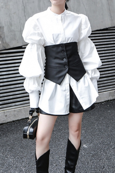 Creative Women's Shirt Blouse Solid Color Long Puff Sleeves Button Closure Stand Collar Regular Fitted Shirt