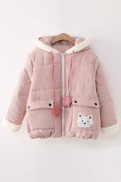 Cute Womens Coat Corduroy Flap Pocket Cat Cartoon Embroidered Plushed Zip Placket Long-sleeved Relaxed Fit Drawstring Hooded Coat