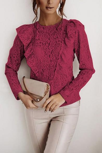 Fancy Blouse Semi-sheer Lace Plain Ruffled Trim Long Sleeve Crew Neck Regular Blouse Top for Ladies