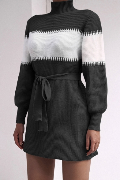 Fashion Dress Knit Long Sleeve High Neck Contrasted Bow Tied Waist Short A-line Sweater Dress for Women