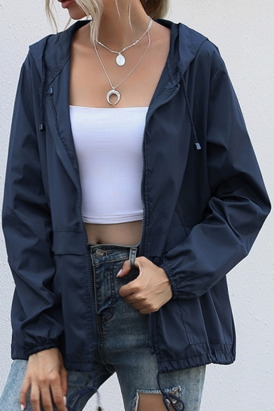 Leisure Ladies Solid Color Long Sleeve Hooded Drawstring Relaxed Fit Jacket