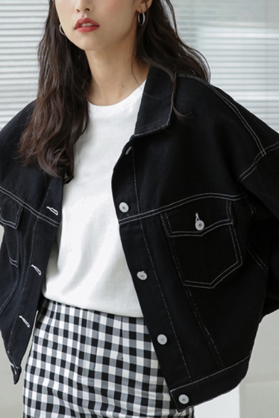Leisure Women's Denim Jacket Contrast Piping Flap Pocket Button Fly Spread Collar Long Sleeves Relaxed Fit Denim Jacket