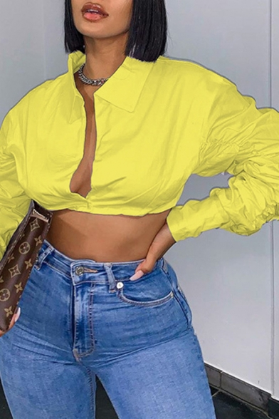 Plain Chic Long Sleeve Point Collar Deep V-neck Fit Cropped Shirt for Women