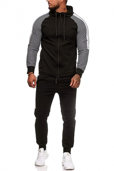 Trendy Men's Active Set Contrast Panel Contrast Stitching Side Pockets Zip-down Long Sleeves Slim Fitted Hoodie with Pants Co-ords