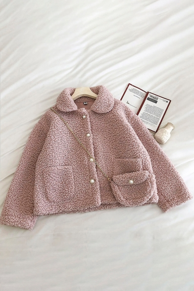 Warm Thickened Women's Coat Solid Color Lamb Wool Pearl Button Closure Front Pocket Peter Pan Collar Long-sleeved Regular Fitted Woolen Coat