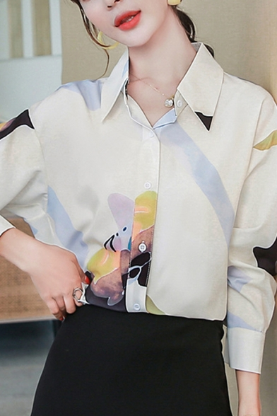 Cute Girls All over Bear Printed Long Sleeve Spread Collar Button down Loose Shirt in White