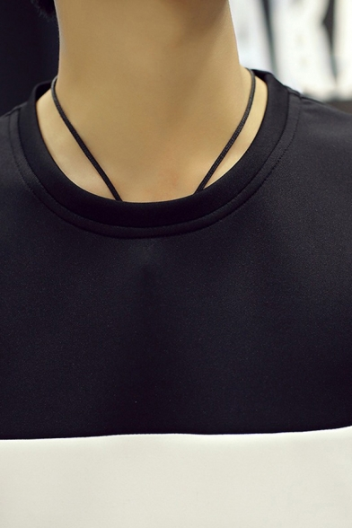 Fashionable Mens Sweatshirt Contrast Panel Stripe Pattern Crew Neck Long Sleeves Regular Fitted Sweatshirt