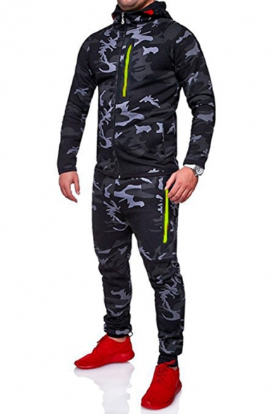 Quick Dry Men's Camo Printed Contrast Trim Side Pockets Zip Closure Long Sleeves Regular Fitted Hoodie with Long Pants