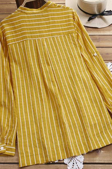 Retro Women's Shirt Blouse Stripe Pattern Cotton and Linen Chest Pocket Button-down Round Neck High-Low Long-sleeved Relaxed Fit Shirt Blouse