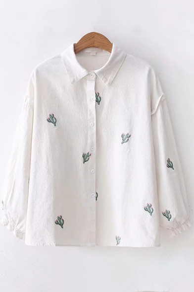 Simple Cactus Embroidered Long Sleeve Lapel Collar White Button Down Shirt