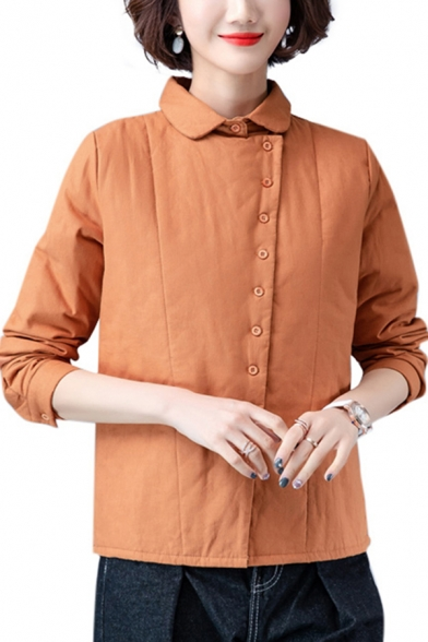 Vintage Women's Jacket Solid Color Button-down Peter Pan Collar Long Sleeves Regular Fitted Jacket