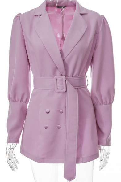 Basic Womens Jacket Plain Double Breasted Tunic Slim Fit Long Sleeve Lapel Collar Suit Jacket with Belt