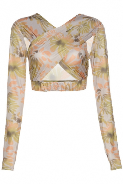 Retro Women's Shirt Blouse Feather Pattern Hollow out Round Neck Criss Cross Front Long Sleeves Shirt Blouse