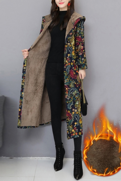 Tribal Women's Coat All over Print Open Front Long Sleeves A-Line Regular Fitted Midi Hooded Coat