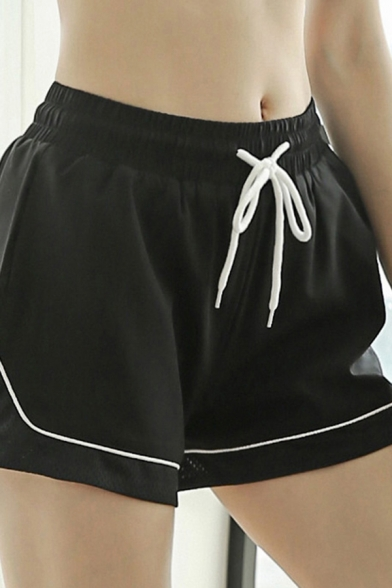 Cozy Womens Shorts Contrasted Pipe Drawstring Waist Wide-leg Shorts
