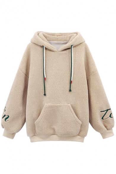 Fancy Women's Hoodie Fur Fleece Front Pocket Contrast Trim Long Sleeves Regular Fitted Drawstring Hooded Sweatshirt